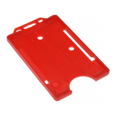 Open Faced Vertical Badge Holders - Red - 100 Pack
