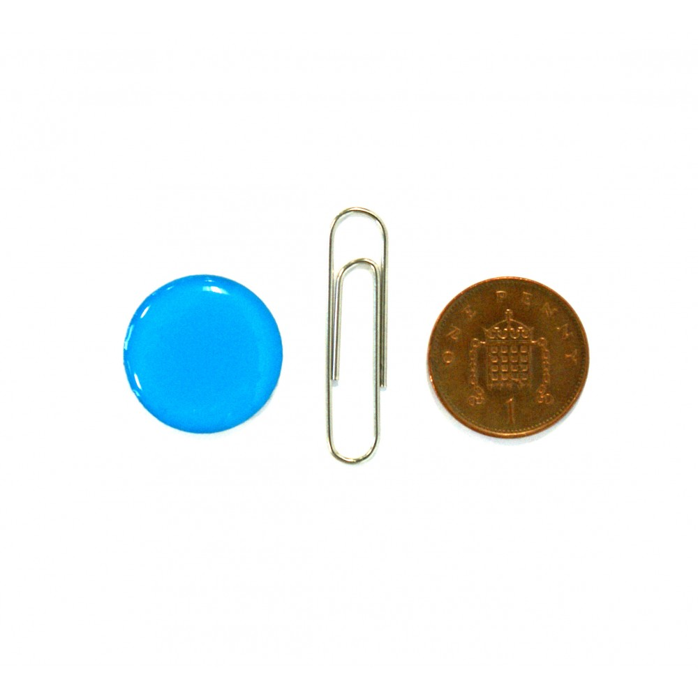 blue tag with paperclip & coin