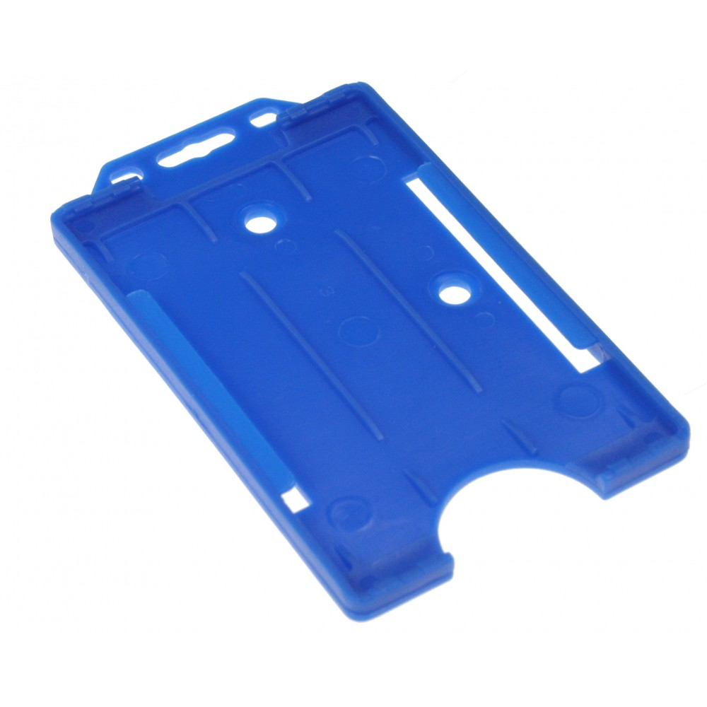 Open Faced Badge Holders - Blue - Vertical - 100 Pack