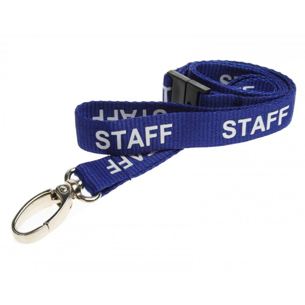 Pre-Printed Breakaway Lanyard – Staff – Blue – Metal Lobster Clip (100 Pack)