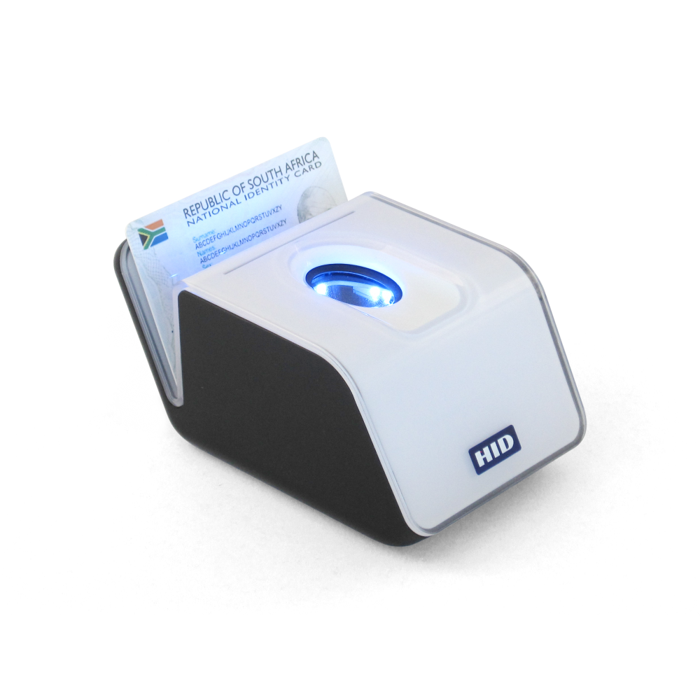 Lumidigm® V-Series V371 Fingerprint Reader - Angled with Card