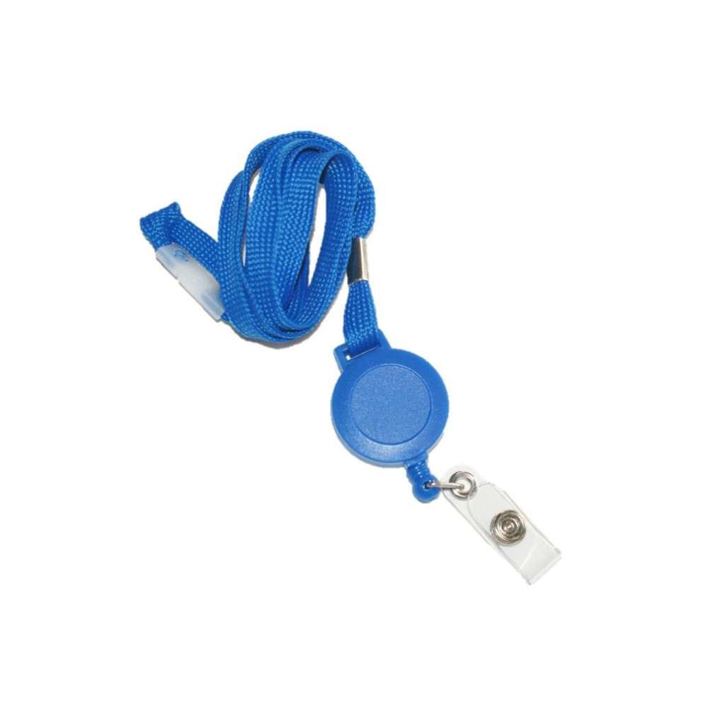Breakaway Lanyard with Badge Reel & Strap Clip – Royal Blue – 100 Pack