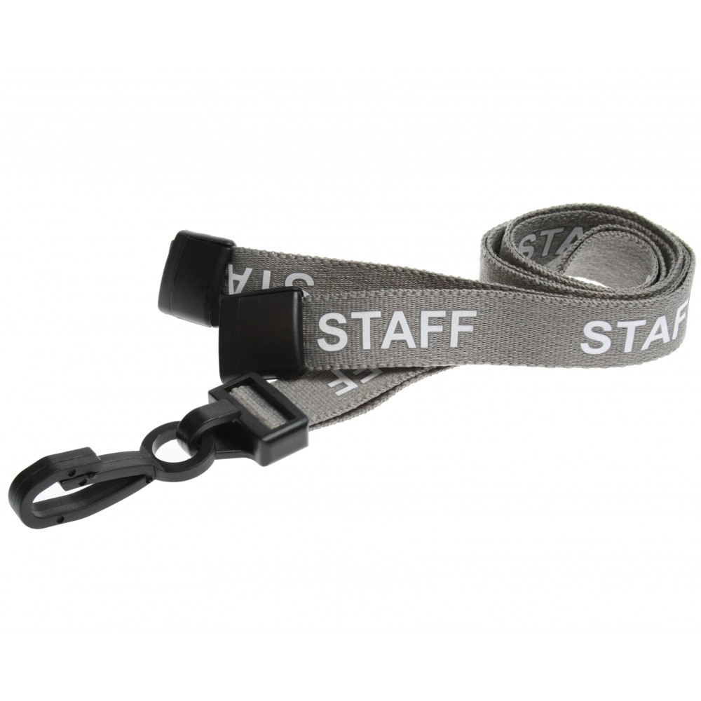 Pre-Printed Breakaway Lanyard – Staff – Grey – Plastic Hook