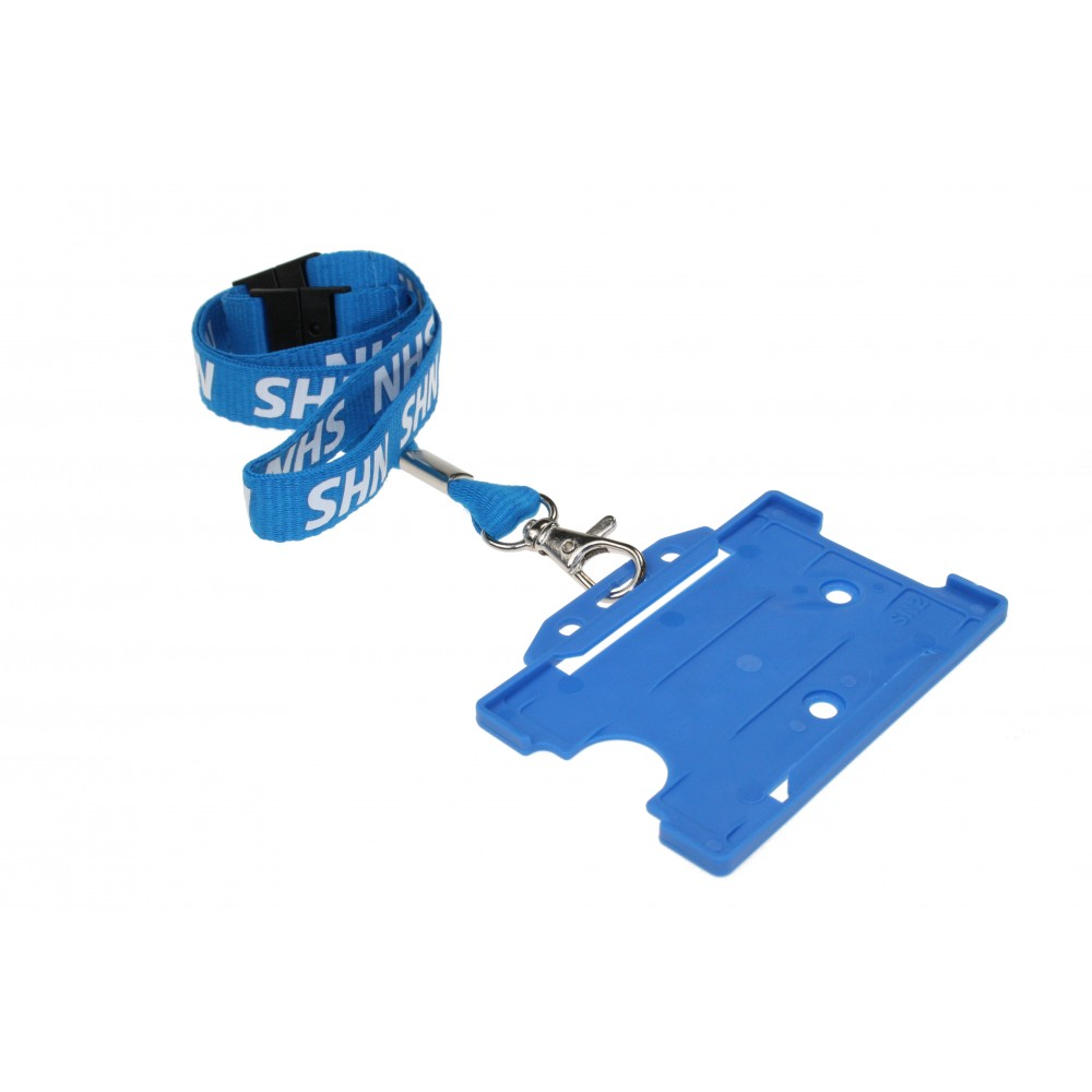 Pre-Printed NHS Lanyard with Double Breakaway and Metal Trigger Clip - Blue (with badge0