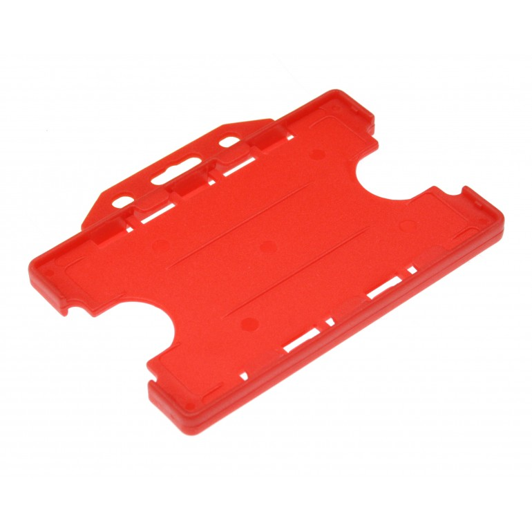 Double Sided Open Faced Horizontal Badge Holders - Red - 100 Pack