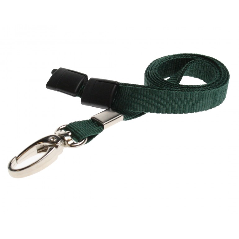 Premium Breakaway Lanyards with Metal Lobster Clip – Dark Green – 100 Pack