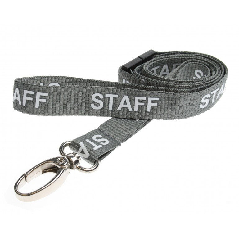 Pre-Printed Breakaway Lanyard – Staff – Grey – Metal Lobster Clip (100 Pack)
