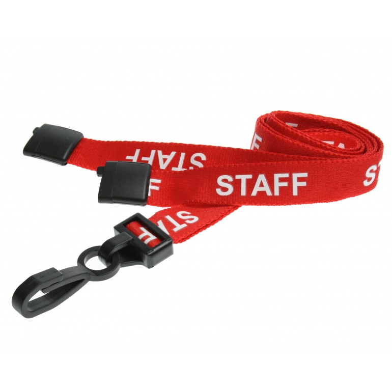 Pre-Printed Breakaway Lanyard – Staff – Red – Plastic Hook