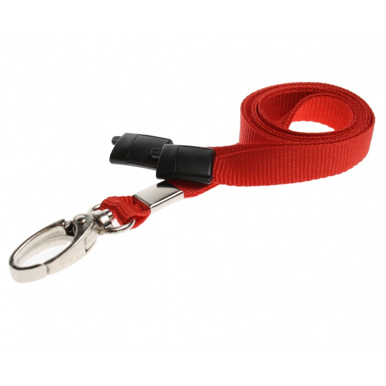 Premier Breakaway Lanyards With Metal Lobster Clip - Red - 100 Pack