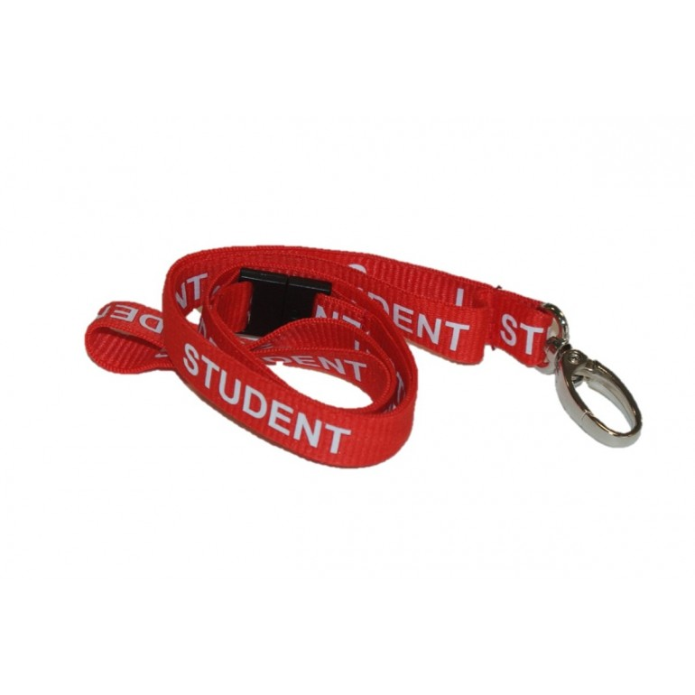 Pre-Printed Breakaway Lanyard – Student – Red – Metal Lobster Clip (100 Pack)