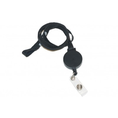 Breakaway Lanyard with Badge Reel & Strap Clip – Black