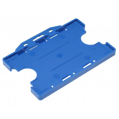 Double Sided Open Faced Horizontal Badge Holders - Blue - 100 Pack