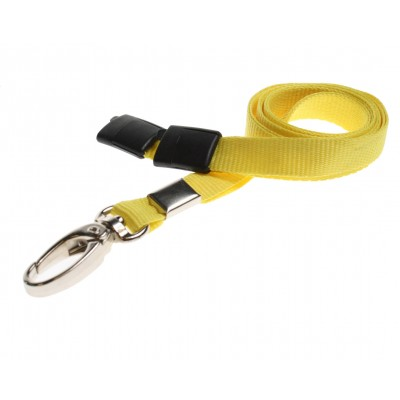 Premier Breakaway Lanyards With Metal Lobster Clip - Yellow - 100 Pack