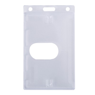 Enclosed Vertical Badge Holder with Thumb Slot - Clear - 100 Pack