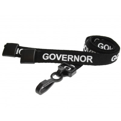Pre-Printed Breakaway Lanyard - Governor - Black - Plastic Clip (100 Pack)