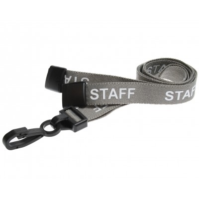 Pre-Printed Breakaway Lanyard – Staff – Grey – Plastic Hook (100 Pack)