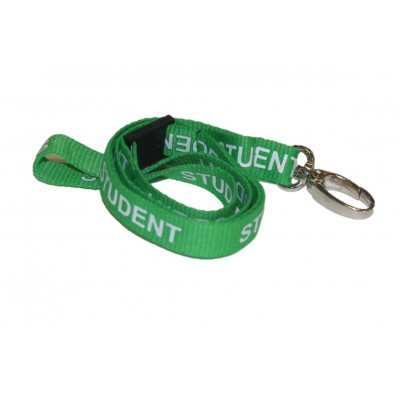 Pre-Printed Breakaway Lanyard – Student – Green – Metal Lobster Clip