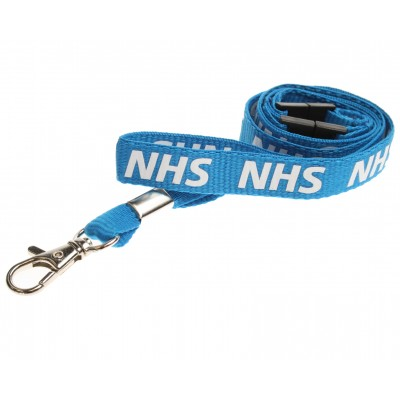 Pre-Printed NHS Lanyard with Double Breakaway and Metal Trigger Clip - Blue (100 Pack)