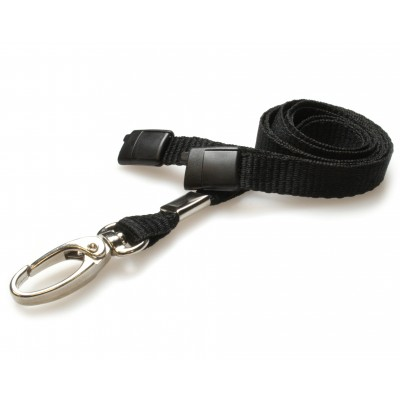 Premier Breakaway Lanyards With Metal Lobster Clip - Black - 100 Pack