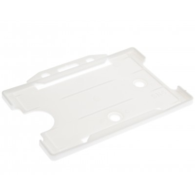 Evohold® Antimicrobial Single Sided Landscape ID Card Holders - White - 100 Pack